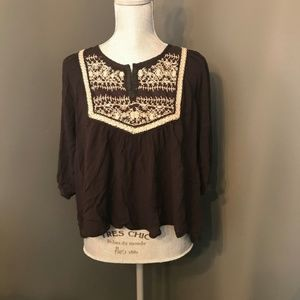 Urban Outfitters Ecote Black Peasant Blouse